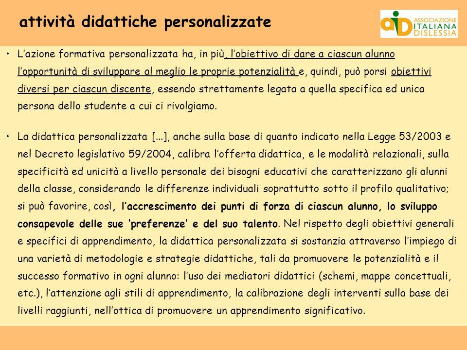 attività didattiche personalizzate