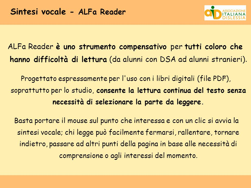 Sintesi vocale - ALFa Reader