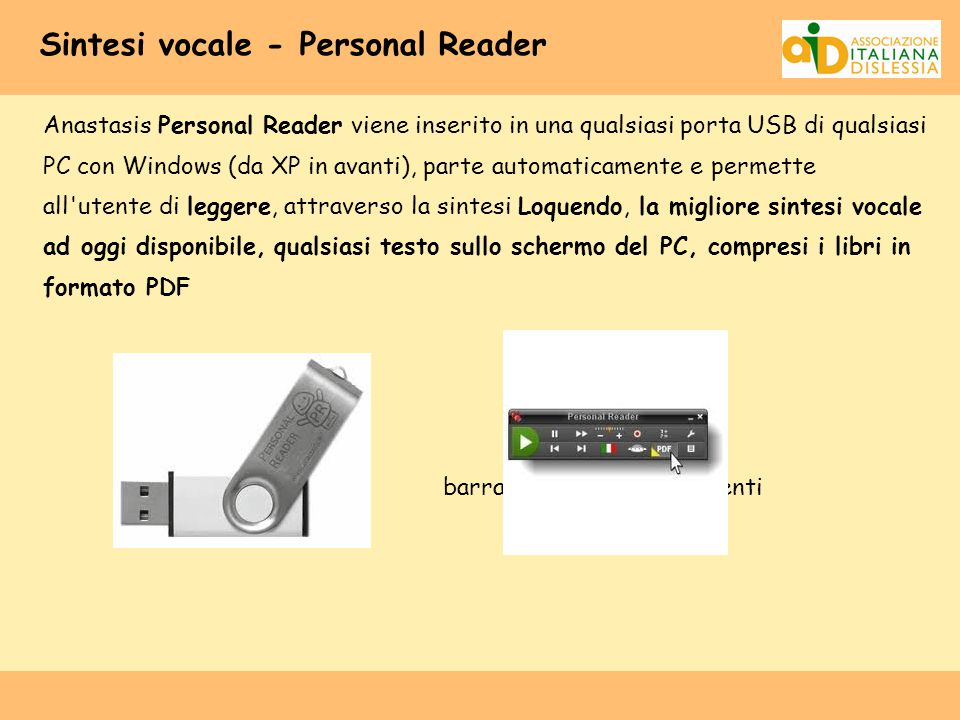 Sintesi vocale - Personal Reader