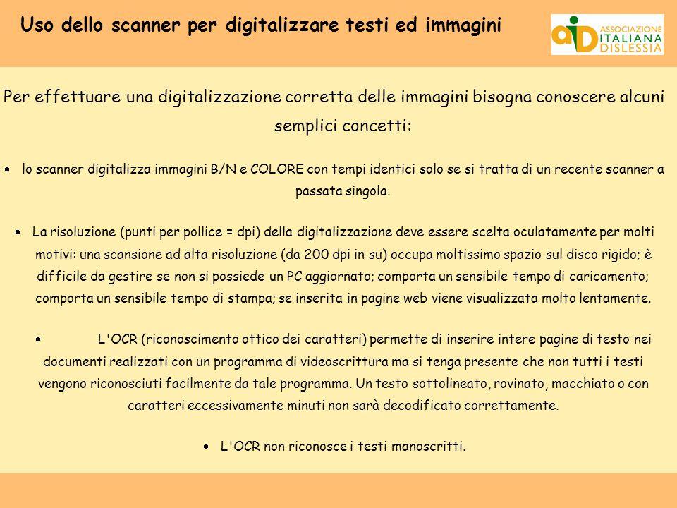 Uso dello scanner per digitalizzare testi ed immagini