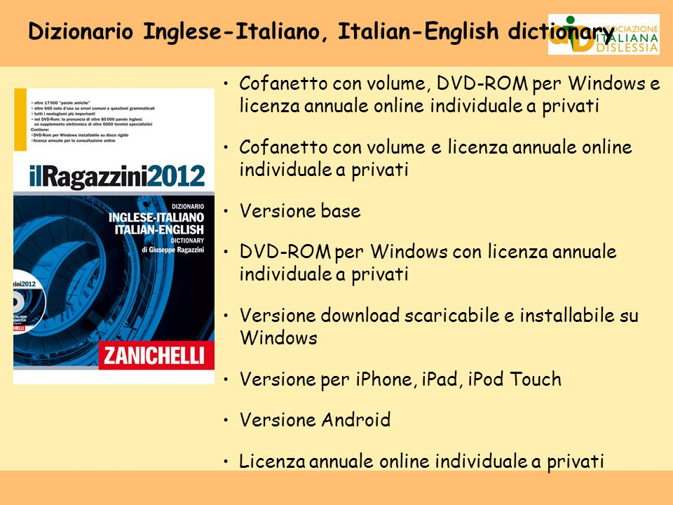 Dizionario Inglese-Italiano, Italian-English dictionary