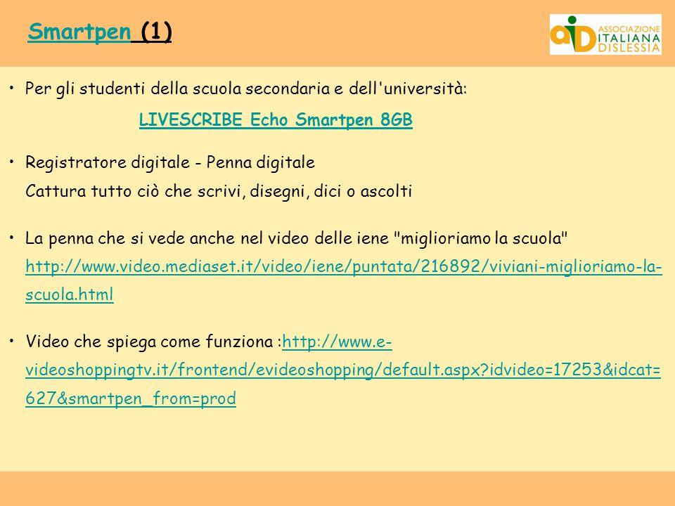 Smartpen (1) Per gli studenti della scuola secondaria e dell università: LIVESCRIBE Echo Smartpen 8GB.