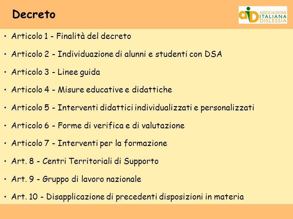 Decreto Articolo 1 - Finalità del decreto