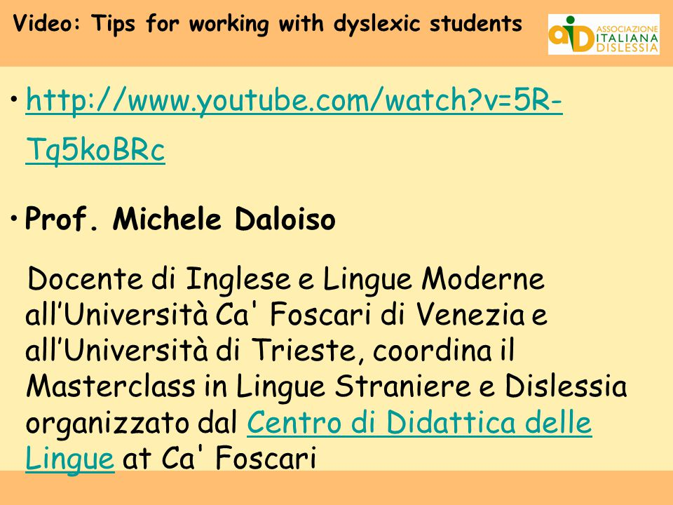 Video: Tips for working with dyslexic students