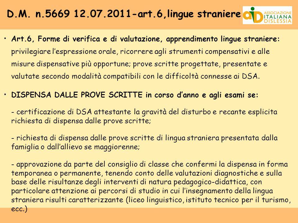 D.M. n.5669 12.07.2011-art.6,lingue straniere