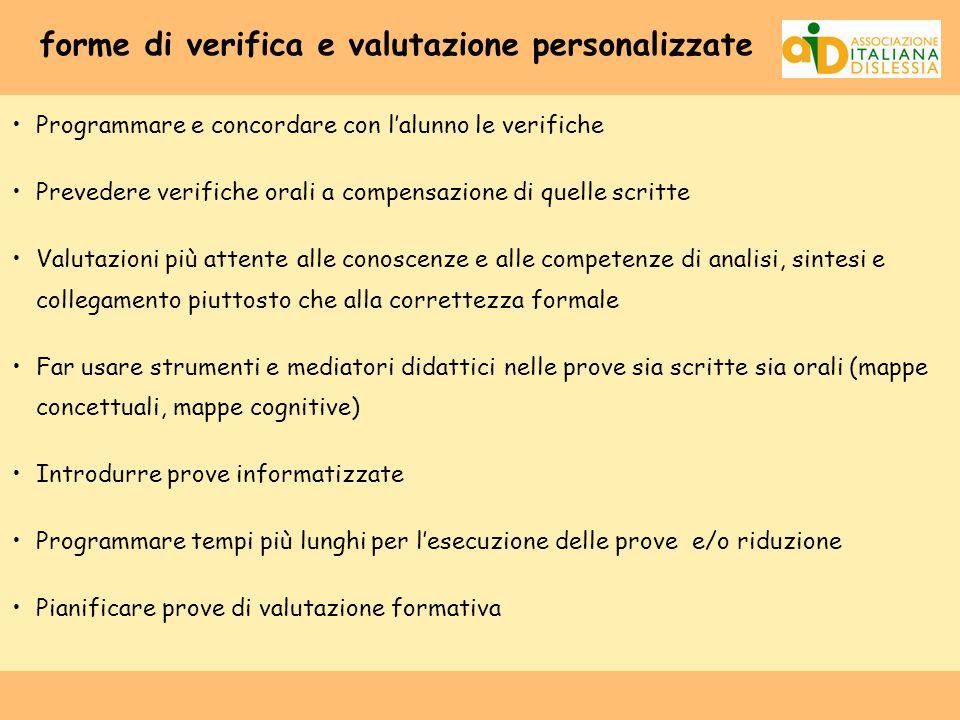 forme di verifica e valutazione personalizzate