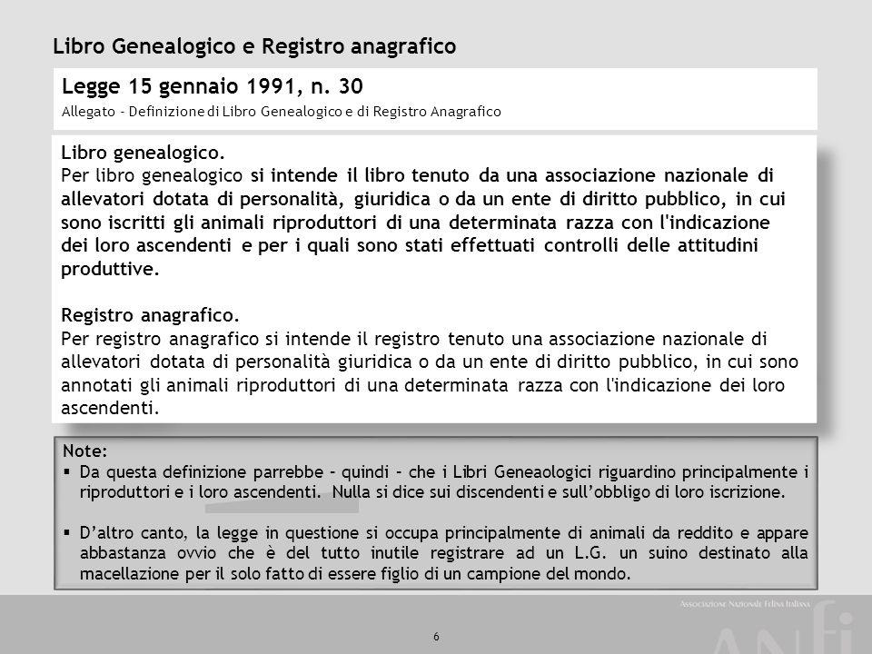 Libro Genealogico e Registro anagrafico