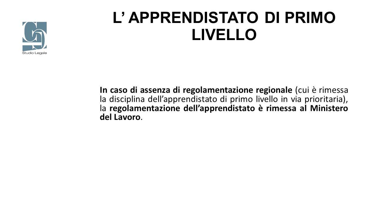 L' APPRENDISTATO DI PRIMO LIVELLO
