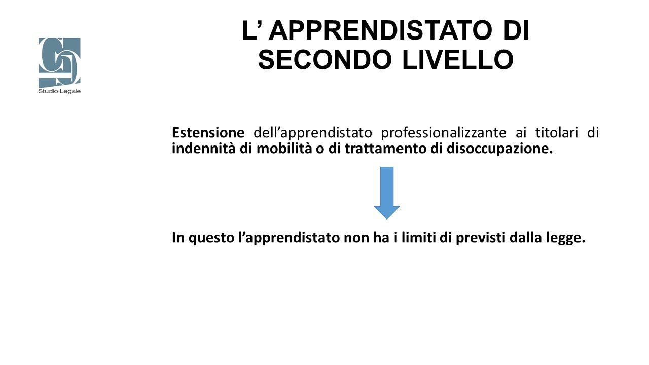 L' APPRENDISTATO DI SECONDO LIVELLO