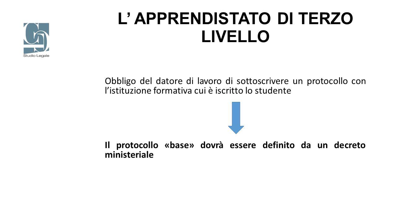 L' APPRENDISTATO DI TERZO LIVELLO