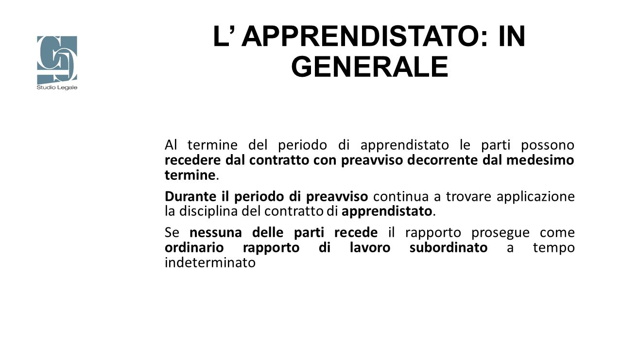 L' APPRENDISTATO: IN GENERALE