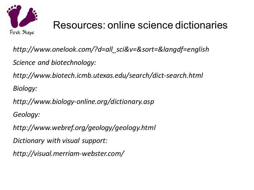Resources: online science dictionaries