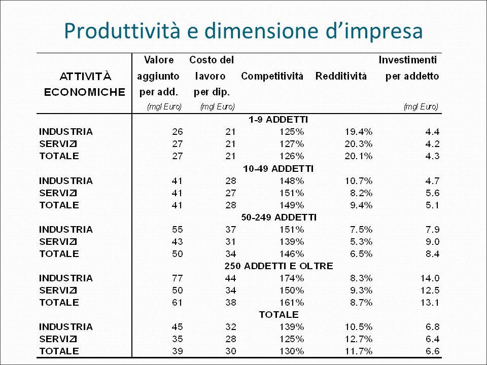 Produttività e dimensione d'impresa