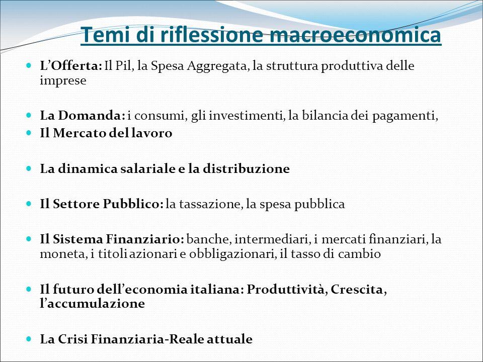 Temi di riflessione macroeconomica