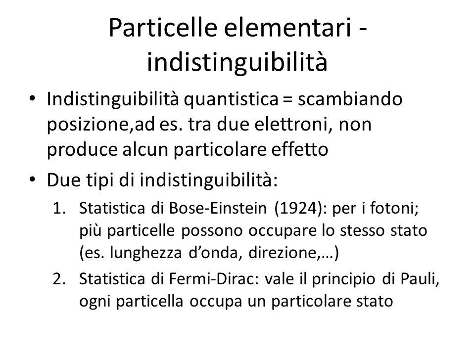Particelle elementari - indistinguibilità