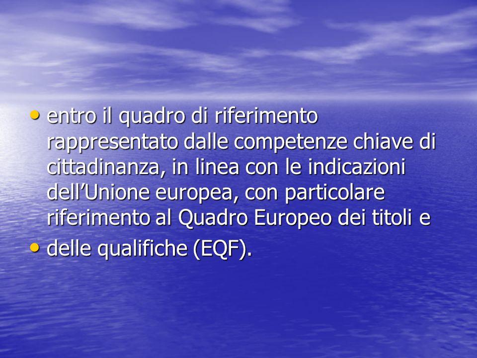 entro il quadro di riferimento rappresentato dalle competenze chiave di cittadinanza, in linea con le indicazioni dell'Unione europea, con particolare riferimento al Quadro Europeo dei titoli e