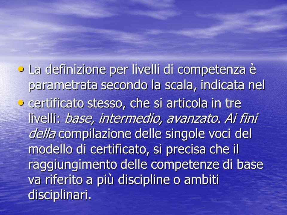 La definizione per livelli di competenza è parametrata secondo la scala, indicata nel