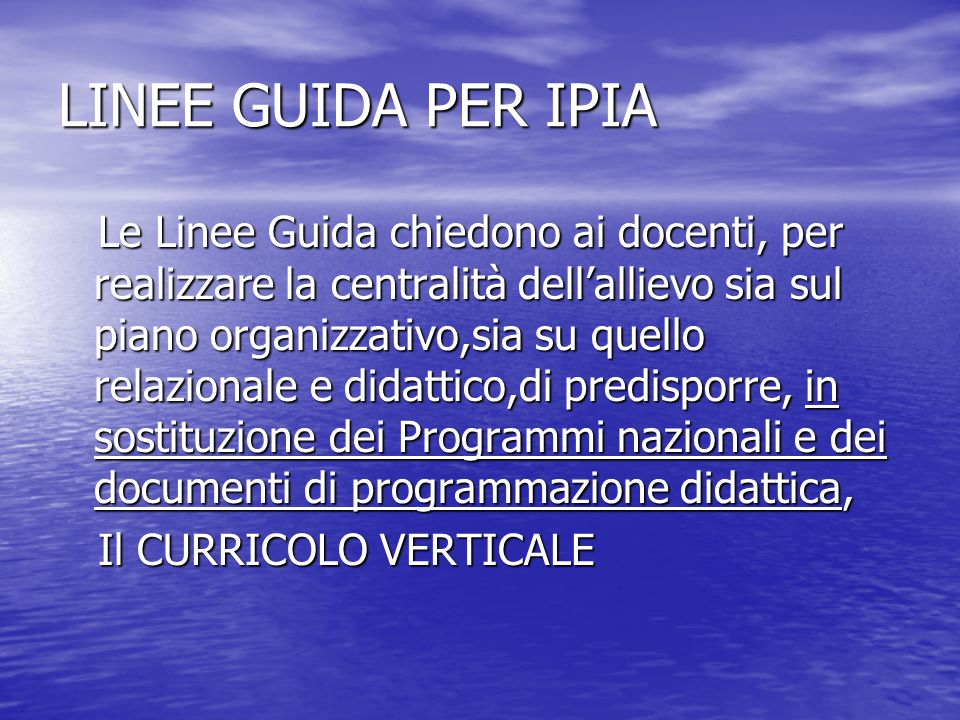 LINEE GUIDA PER IPIA