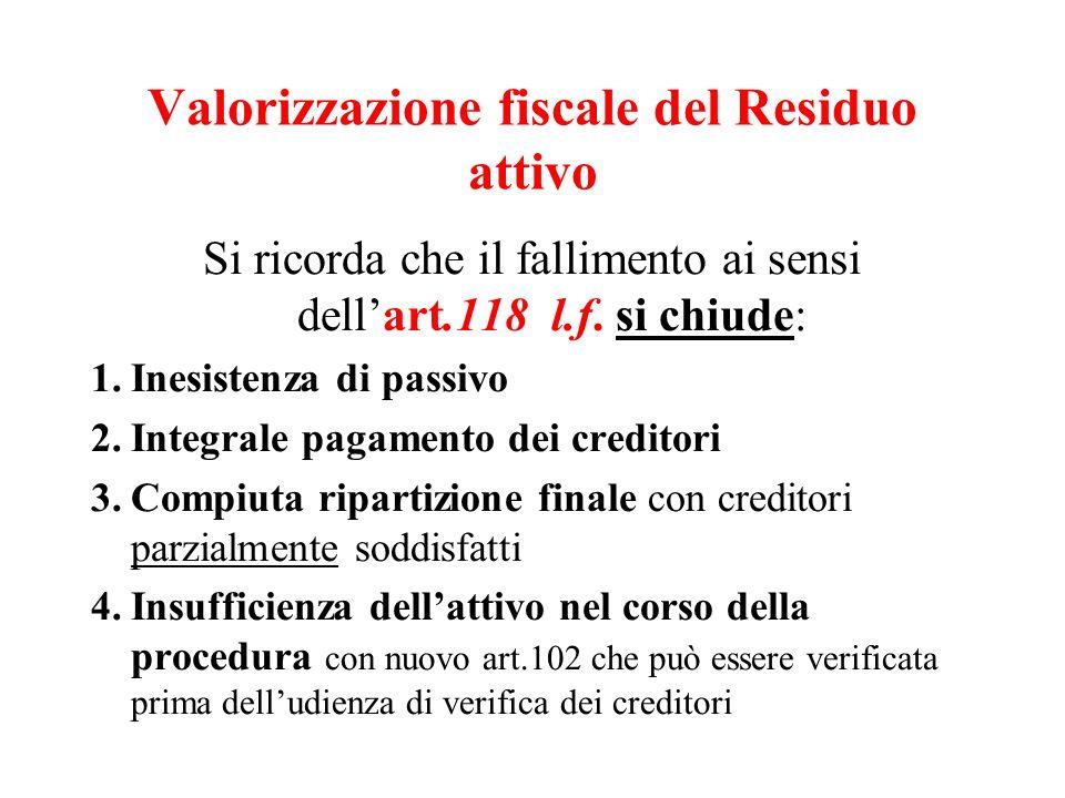 Valorizzazione fiscale del Residuo attivo