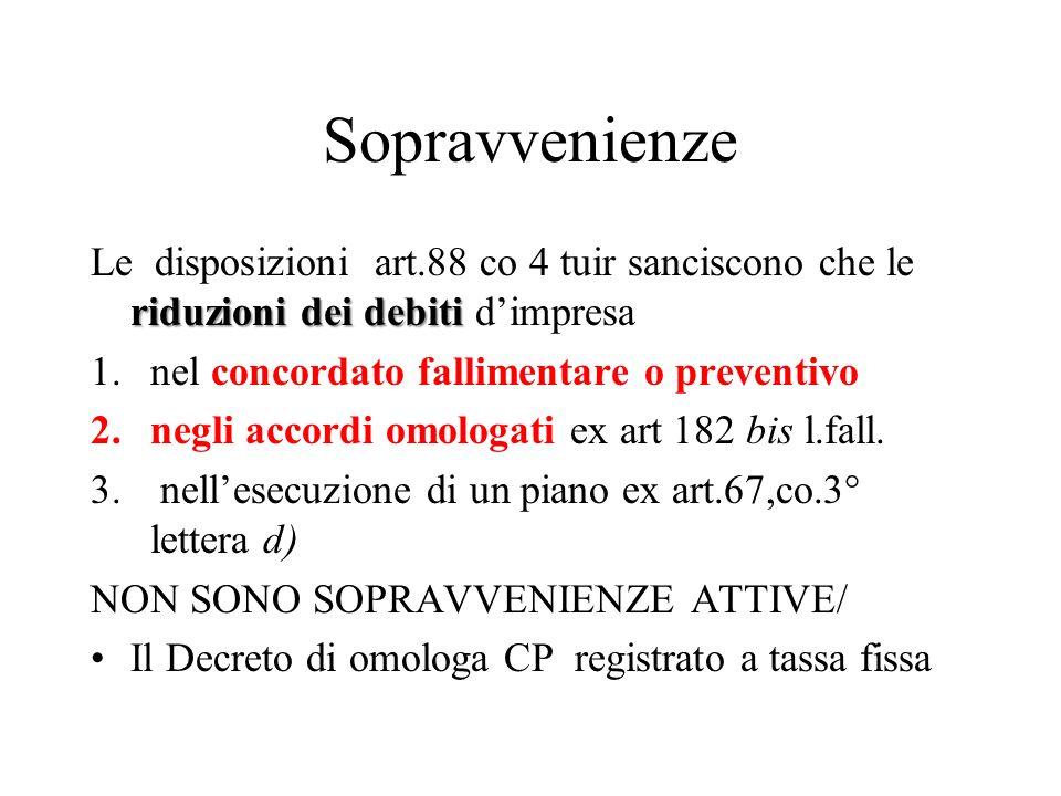 Sopravvenienze Le disposizioni art.88 co 4 tuir sanciscono che le riduzioni dei debiti d'impresa.