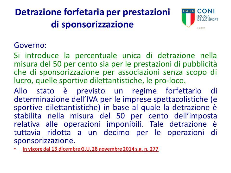 Detrazione forfetaria per prestazioni di sponsorizzazione