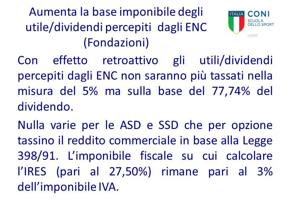 Aumenta la base imponibile degli utile/dividendi percepiti dagli ENC (Fondazioni)