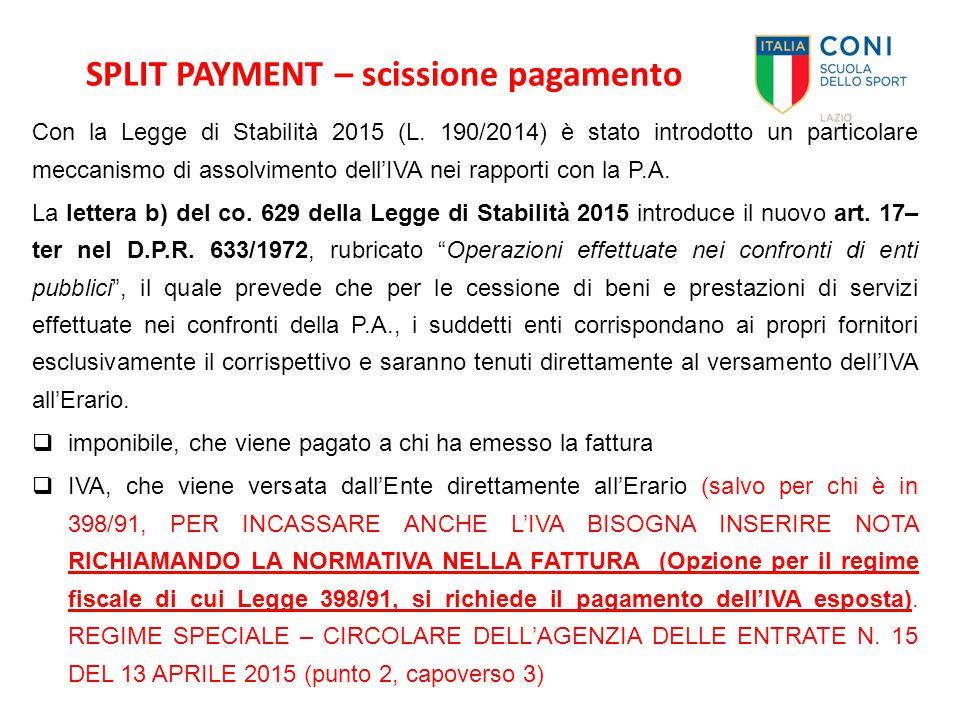 SPLIT PAYMENT – scissione pagamento