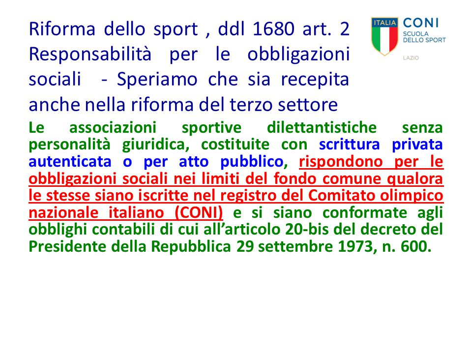 Riforma dello sport , ddl 1680 art