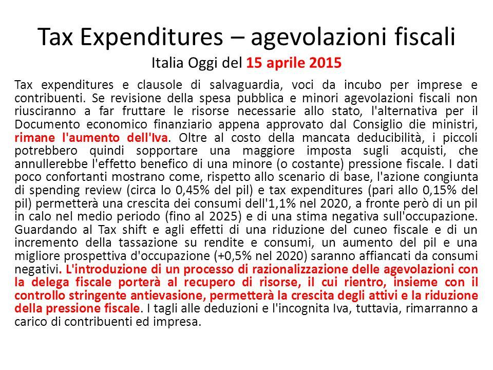 Tax Expenditures – agevolazioni fiscali Italia Oggi del 15 aprile 2015