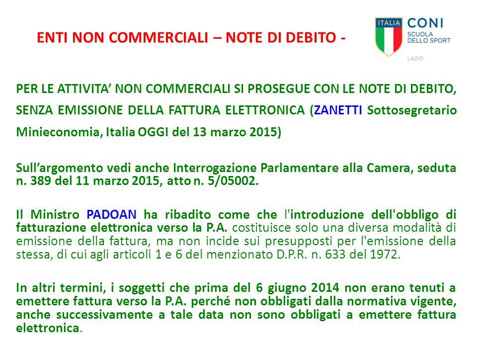 ENTI NON COMMERCIALI – NOTE DI DEBITO -