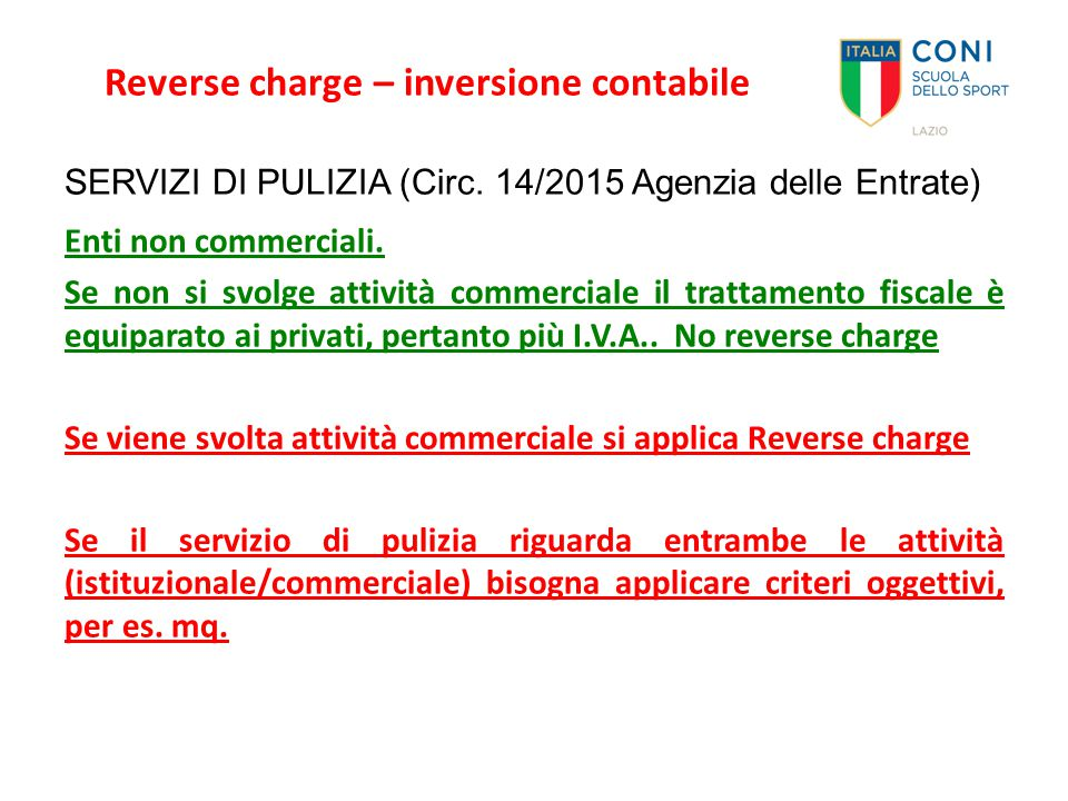 Reverse charge – inversione contabile