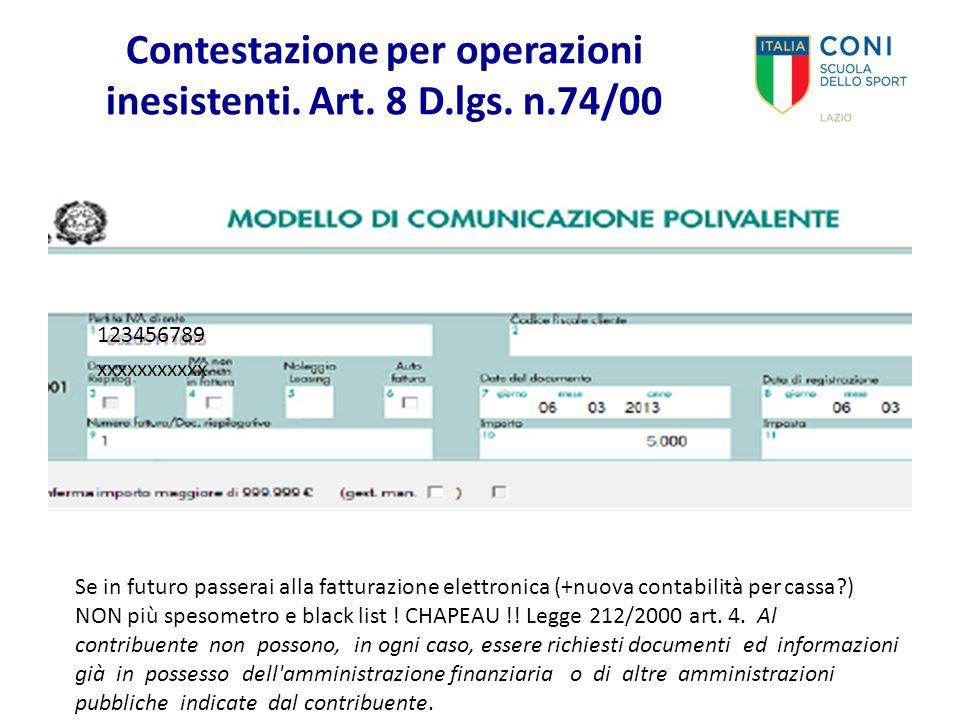 Contestazione per operazioni inesistenti. Art. 8 D.lgs. n.74/00