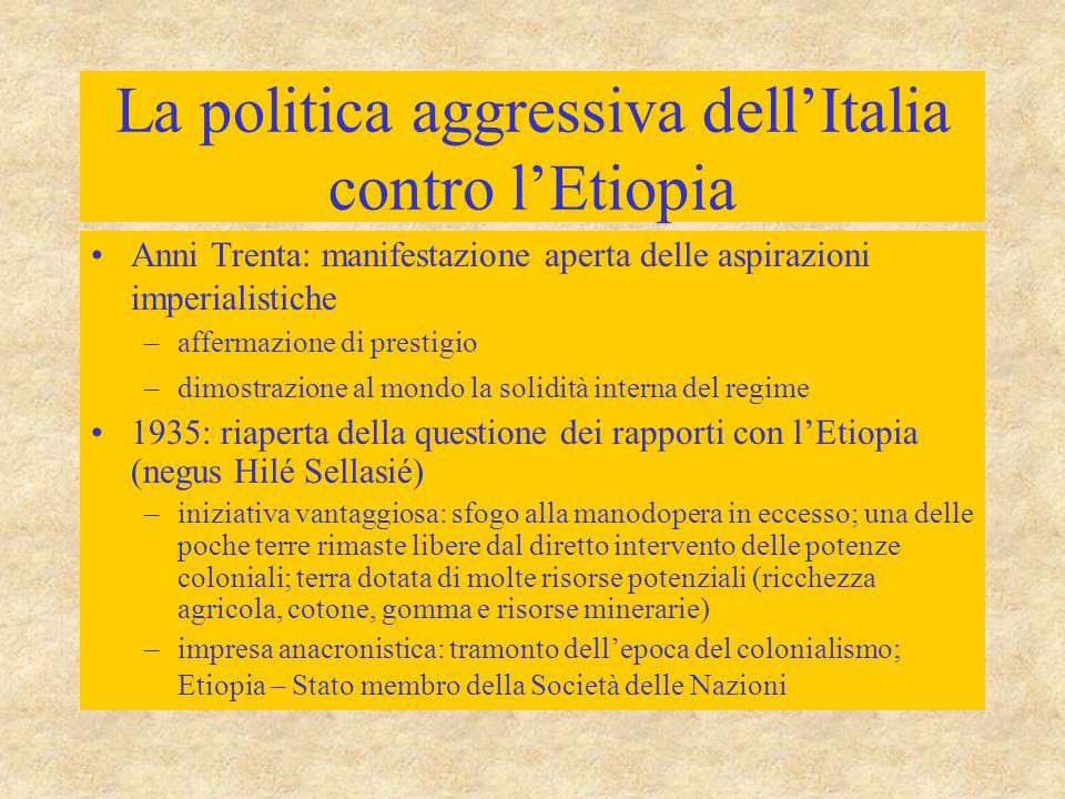 La politica aggressiva dell'Italia contro l'Etiopia