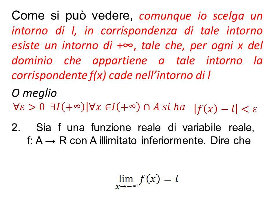 Come si può vedere, comunque io scelga un intorno di l, in corrispondenza di tale intorno esiste un intorno di +∞, tale che, per ogni x del dominio che appartiene a tale intorno la corrispondente f(x) cade nell'intorno di l
