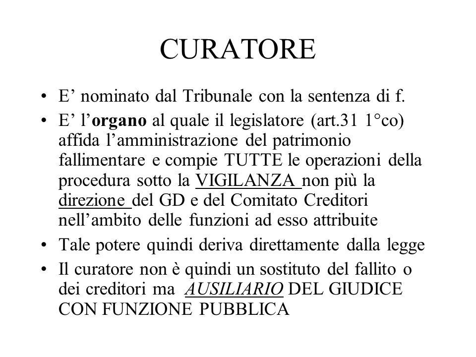 CURATORE E' nominato dal Tribunale con la sentenza di f.