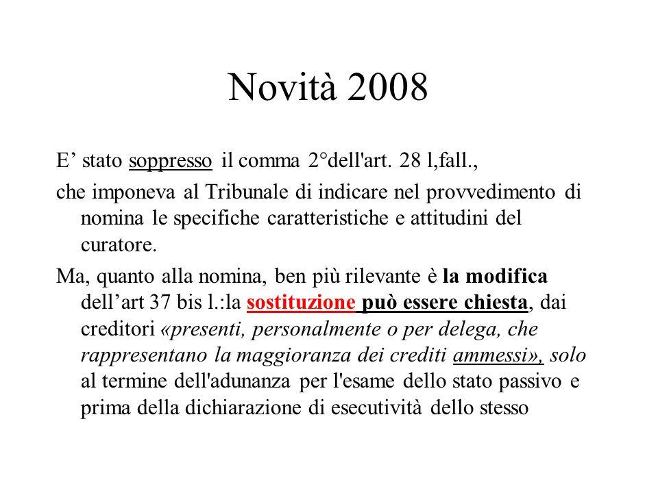 Novità 2008 E' stato soppresso il comma 2°dell art. 28 l,fall.,