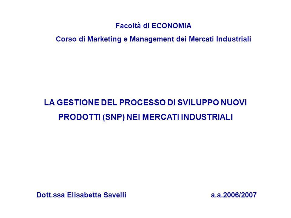 Facoltà di ECONOMIA Corso di Marketing e Management dei Mercati Industriali.