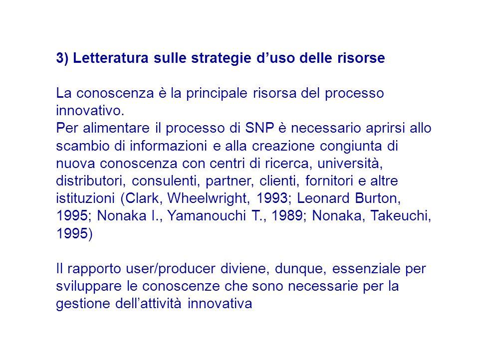 3) Letteratura sulle strategie d'uso delle risorse