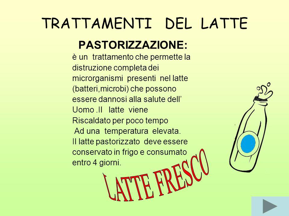 TRATTAMENTI DEL LATTE LATTE FRESCO PASTORIZZAZIONE: