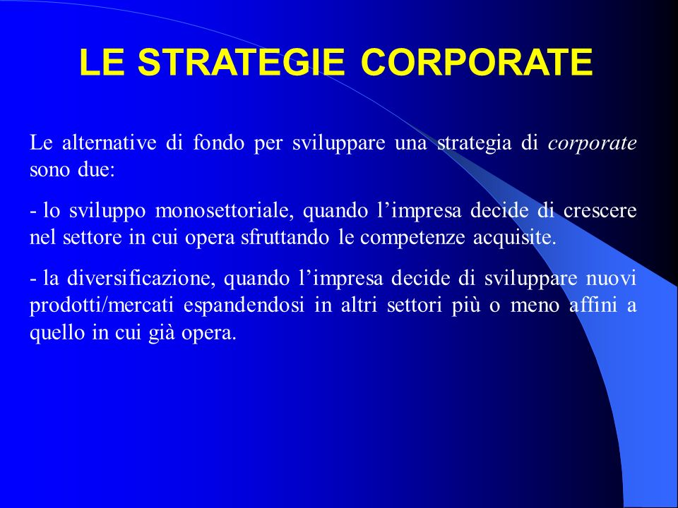LE STRATEGIE CORPORATE