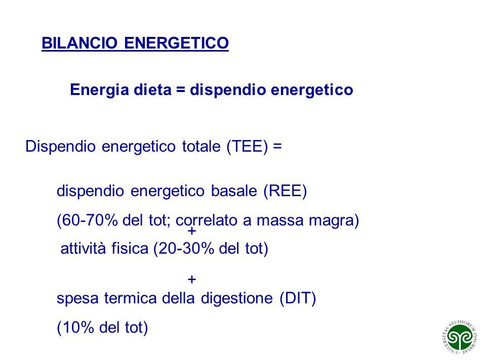 BILANCIO ENERGETICO Energia dieta = dispendio energetico. Dispendio energetico totale (TEE) = dispendio energetico basale (REE)