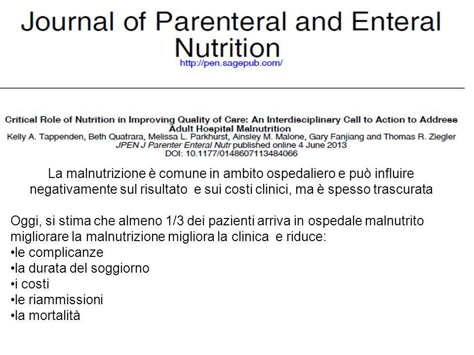 La malnutrizione è comune in ambito ospedaliero e può influire
