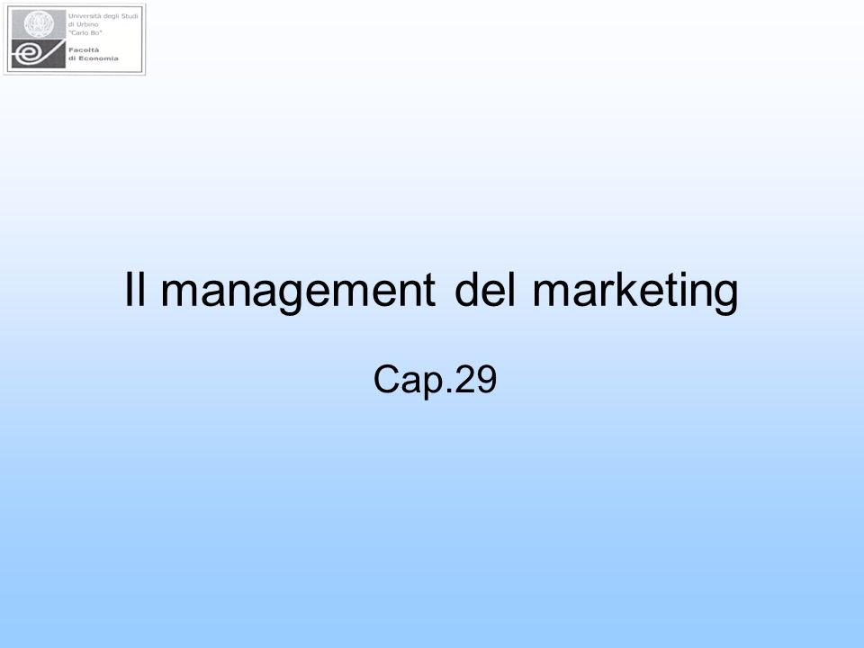 Il management del marketing