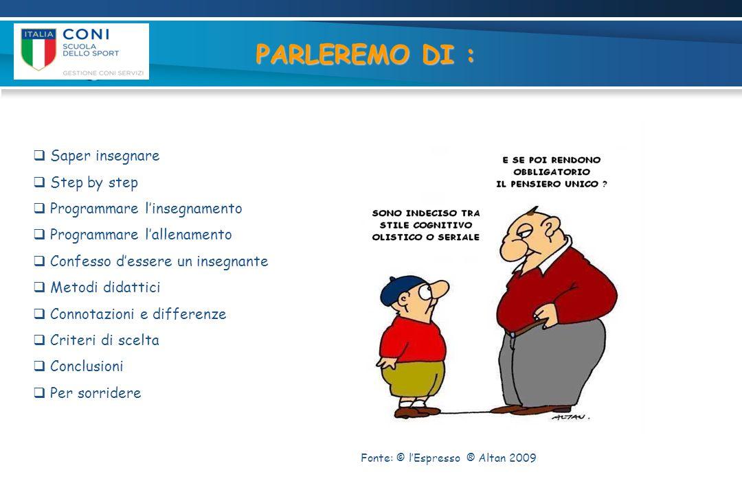 PARLEREMO DI : Saper insegnare Step by step Programmare l'insegnamento