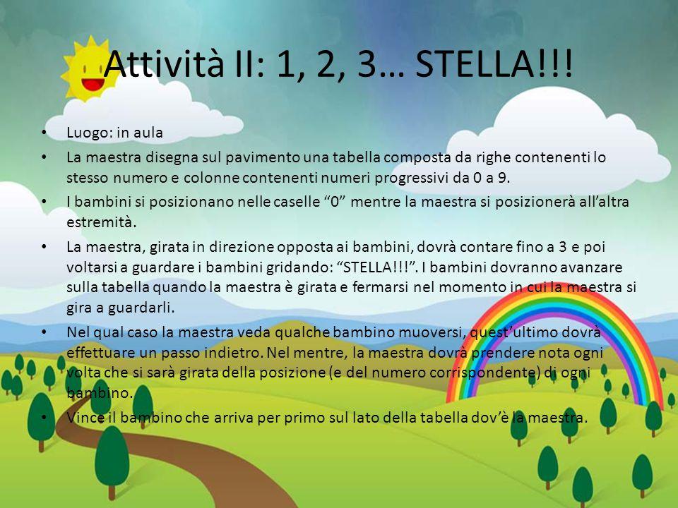Attività II: 1, 2, 3… STELLA!!! Luogo: in aula