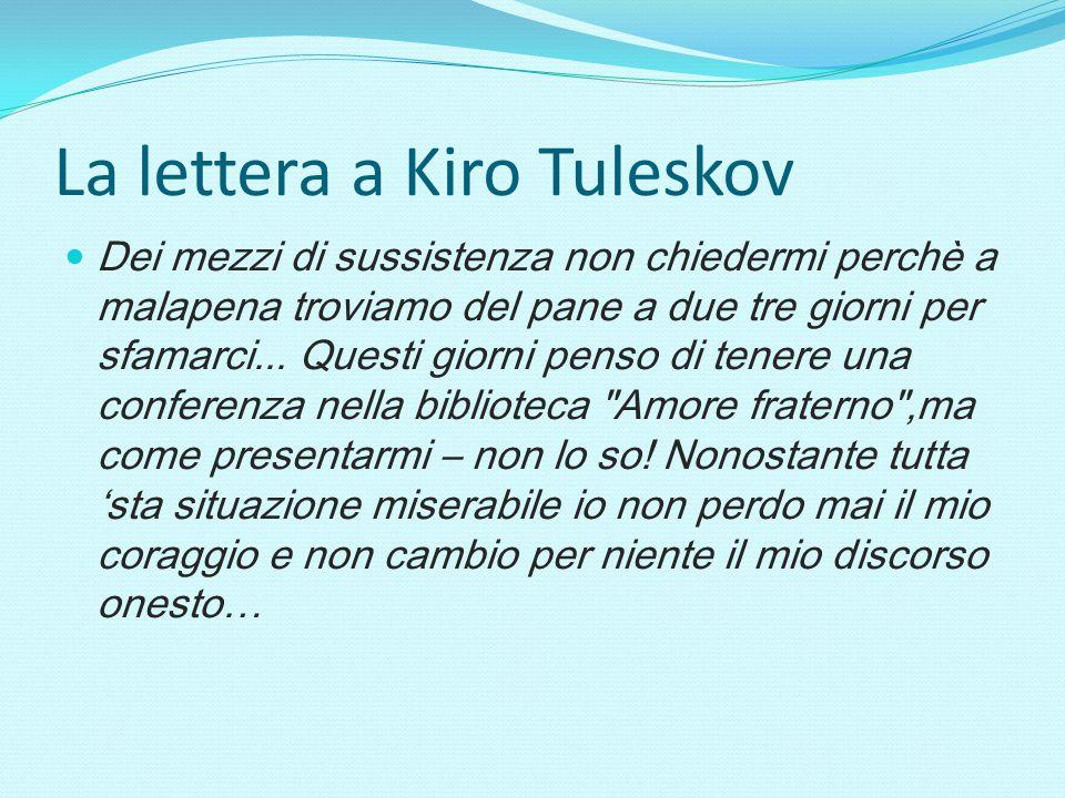 La lettera a Kiro Tuleskov