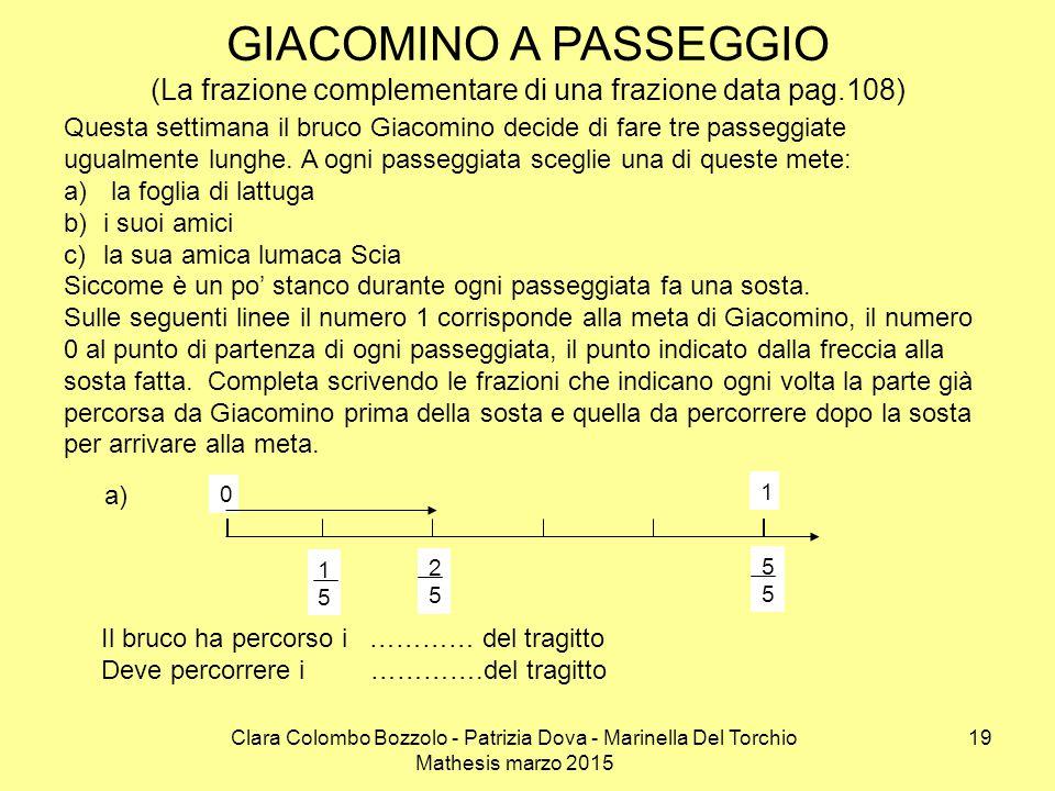 GIACOMINO A PASSEGGIO (La frazione complementare di una frazione data pag.108)