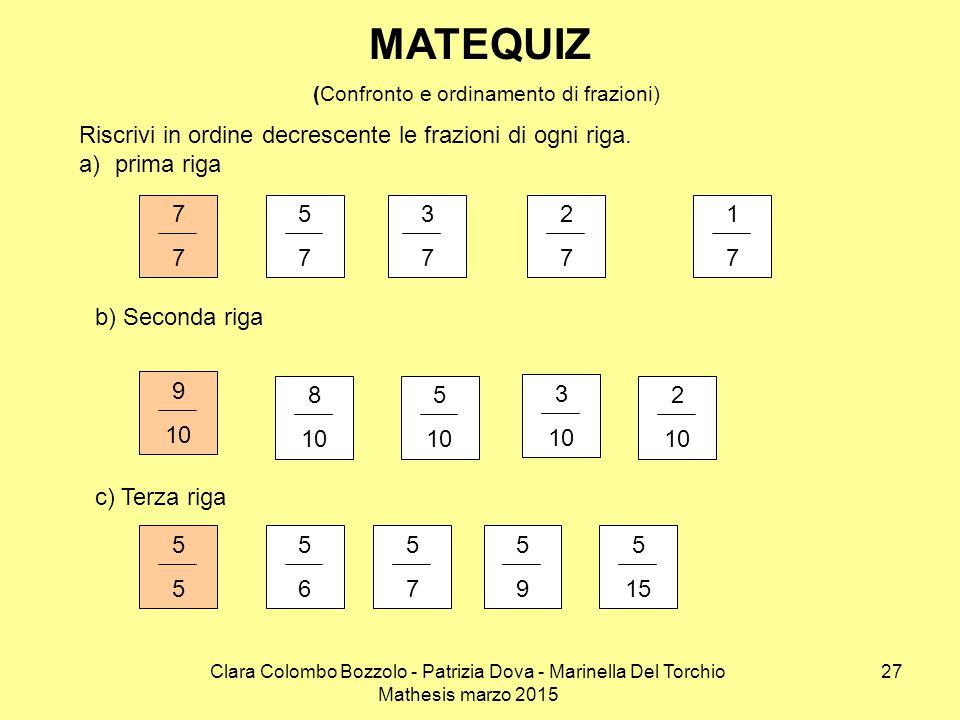 MATEQUIZ (Confronto e ordinamento di frazioni)