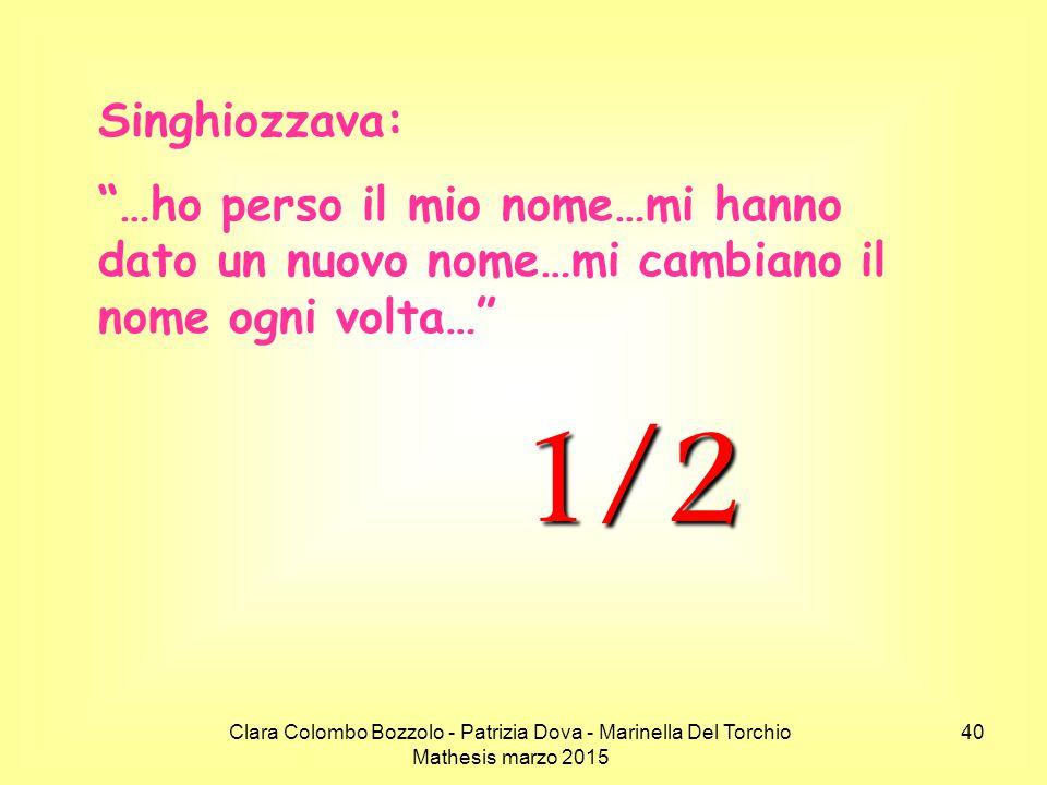 Singhiozzava: …ho perso il mio nome…mi hanno dato un nuovo nome…mi cambiano il nome ogni volta… 1/2.