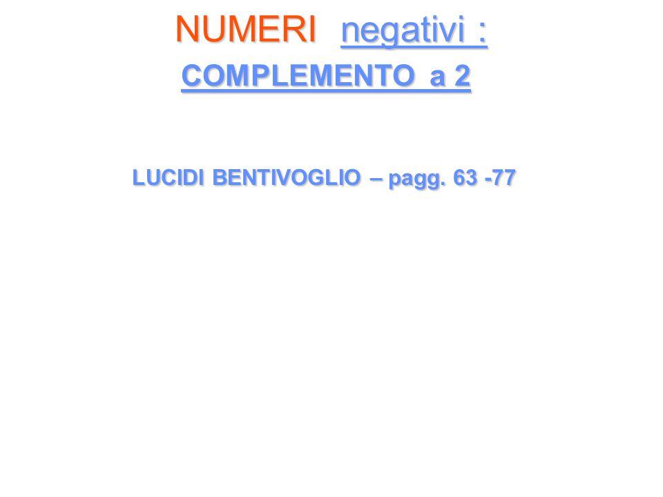 NUMERI negativi : COMPLEMENTO a 2